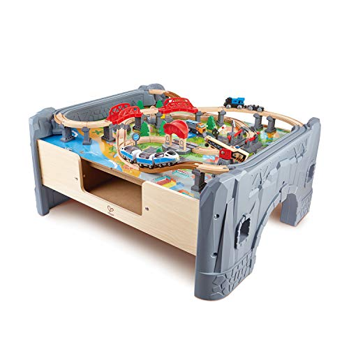 Hape E3766 70 Piece Railway Train Table and Set Toy with Battery Powered Locomotive with Removable Playmat Surface and Storage for Kids 3 Years and Up