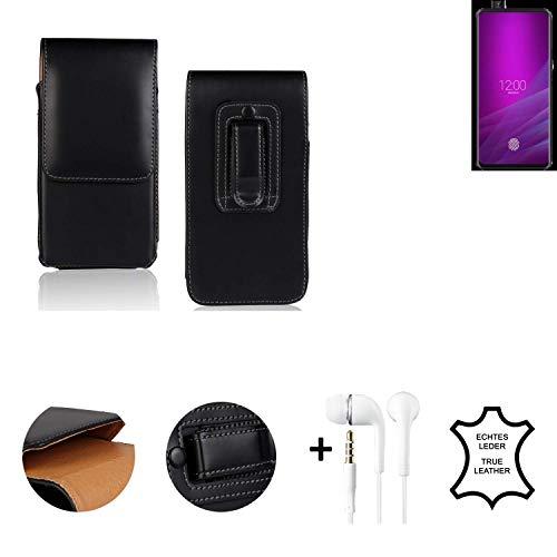 K-S-Trade® Leder Gürtel Tasche + Kopfhörer Für Allview Soul X6 Xtreme Seitentasche Belt Pouch Handy-Hülle Gürteltasche Schutz-Hülle Etui Schwarz 1x