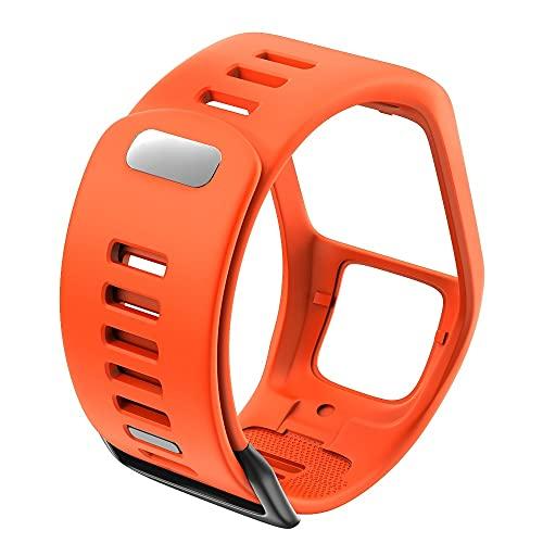 PAZHOU Silicona Reemplazo de Pulsera Reloj Correa para Tomtom Runner 2 3 Spark 3 GPS Reloj Deportivo para Tomtom 2 3 Series Soft Smart Band (Band Color : Orange)