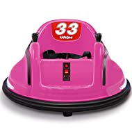 Kidzone Race #33 Ride On Bumper Car 360 Degree Spinning Toy for Toddlers Aged 1.5+ 6V Rechargeable Battery-Powered with LED Light for Boys & Girls, Pink