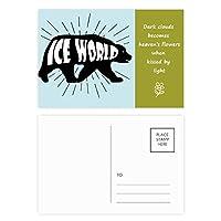 黒い動物のクマのシルエットのナチュラル 詩のポストカードセットサンクスカード郵送側20個