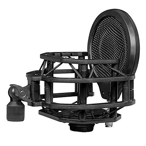 Hellery Soporte de micrófono de choque con filtro Pop de doble malla apto para la mayoría de los micrófonos