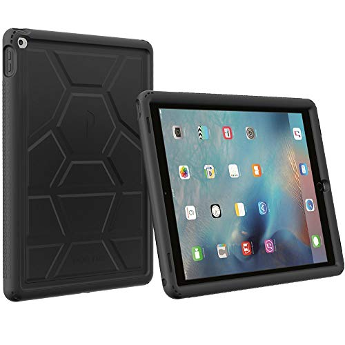 Poetic TurtleSkin iPad Pro 12.9 Rugged Case Cover with Heavy Duty Protection Silicone and Sound-Amplification Feature for Apple iPad Pro 12.9 (1st Gen 2015) Black