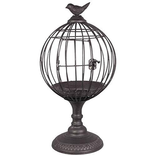 L'Héritier Du Temps Cage à Oiseaux sur Pied Photophore Intérieur ou Extérieur Volière Décorative Ronde en Métal Gris Foncé 23x23x42,5cm
