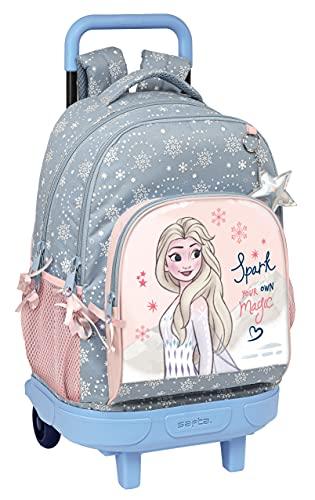 Safta Mochila Escolar con Carro Incluido y Espalda Acolchada de Frozen II Magical Seasons, 330x220x450 mm, Gris Azulado/Rosa Claro