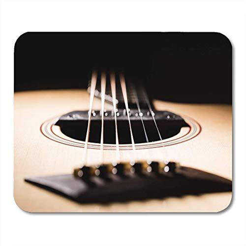 Mauspads Klassische braune Audio-Akustikgitarre auf Black Blues Klassisches Mauspad für Notebooks, Desktop-Computer-Matten Büromaterial