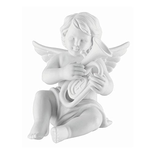 Deko-Engel mit Baritonhorn aus Biskuit Porzellan in weiß matt. Rosenthal Qualität. Für Zuhause oder im Garten, auch Grab-Schmuck. 11 cm