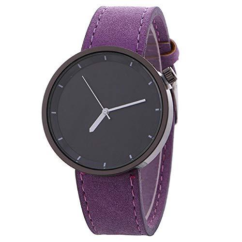 SANDA Reloj Hombre,Correa de Mezclilla Reloj de Esfera Grande Reloj de Pulsera de Mesa Femenina Reloj de Moda de Ocio con Personalidad-púrpura