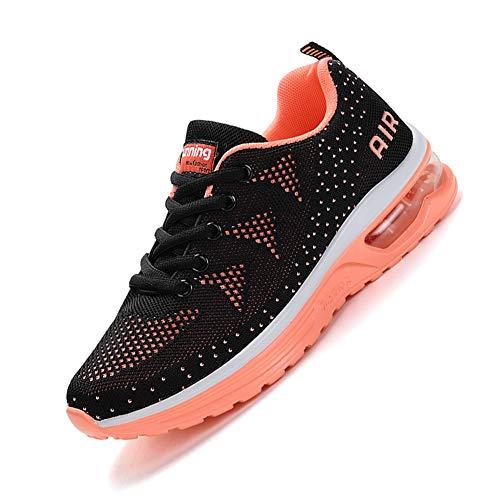 smarten Sportschuhe,Herren Damen Laufschuhe mit Luftpolster Turnschuhe Profilsohle Sneakers Air Leichte Schuhe Black Orange 39