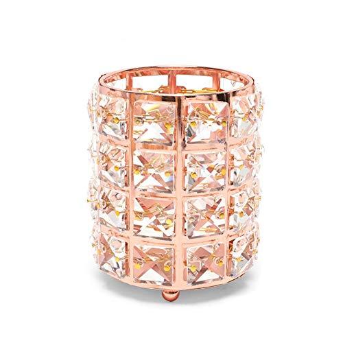 YSGLIFE Soporte de Cepillo Cosmético de Oro Rosa Cepillo Cejas Organizador Brochas Maquillaje Caja Joyería Lujo Redonda Bolígrafo Taza Lápiz Cuentas Cristal Bling Portavelas Vitrina