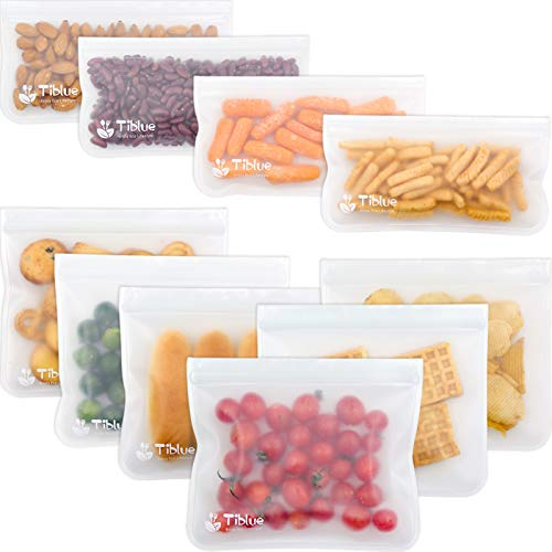 Reusable Storage Bags - 10 Pack Leakproof Freezer Bag?6 Reusable Sandwich Bags & 4 Reusable Snack Bag) - EXTRA THICK BPA FREE Reusable Ziplock Lunch Bag for Food Storage Home Organization