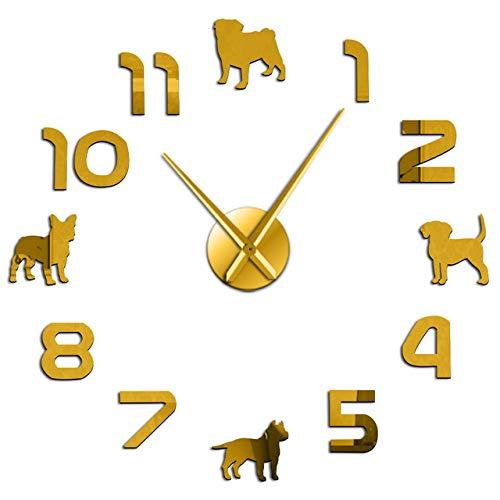 yaoyao wandklokken voor slaapkamers verschillende hondenrassen puppy honden dobbelstenen grote muur knuffel Pit Bull Franse Bulldog Beagle met Arabische cijfers Giant muur klok goed cadeau voor vrienden en familieleden
