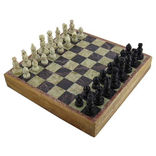 RoyaltyRoute Tradizionali Giochi di strategia da Tavolo Unico Marmo Pezzi di Scacchi Set e Scatola di Cartone 30 x 30 cm