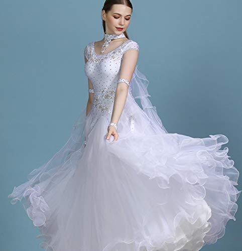 ZYLL Lady Moderne Tanz-Kleid Langarm National Standard-Tanz-Abnutzungs-Walzer Gesellschaftstanz Kostüme Tanz Anzug,Weiß,XXL