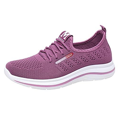 Zapatillas de Senderismo para Mujer Tejidas Ligeras y elásticas Transpirables para Caminar a la Moda, cómodas Zapatillas Deportivas Mary Jane (M11_Purple,40)
