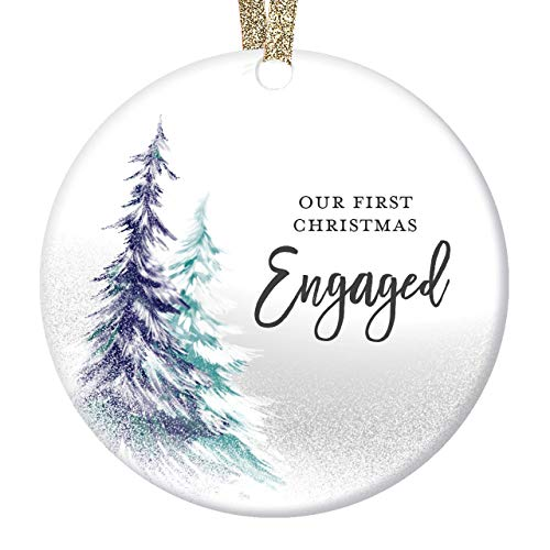 DIGIBUDDHA 1st Christmas Engaged Ornament Engagement Party Gifts for Couple, First Xmas as Fiance Fiancee Man Woman Gay Present Ceramic Keepsake 3' Flat Circle Porcelain with Gold Ribbon & Free Box
