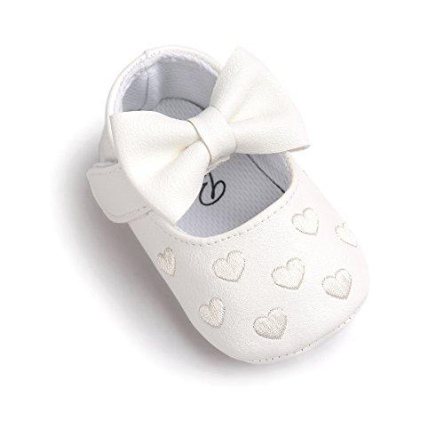 Zapatos de bebé,Auxma Niña Bowknot Zapatos de Cuero Zapatillas Antideslizante Suave niño único para 0-18 Meses (0~6M, Blanco)