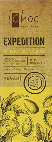 ichoc Sunny Almond Dunkle Mandel Nougat mit Crisp vegan, 5er Pack (5 x 50 g)