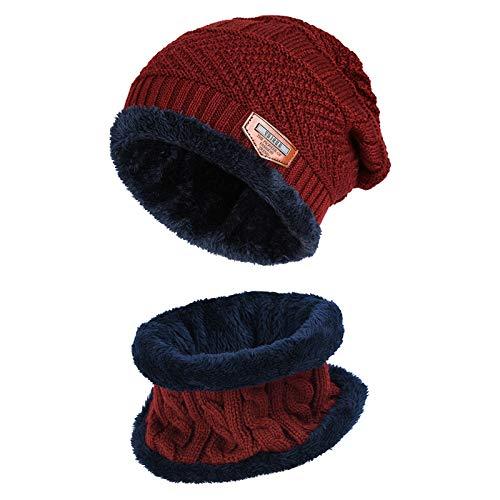 Vbiger Wintermütze Strickmütze Warme Beanie Winter Mütze und Schal mit Fleecefutter für Damen und Herren,Rot-neu,Einheitsgröße