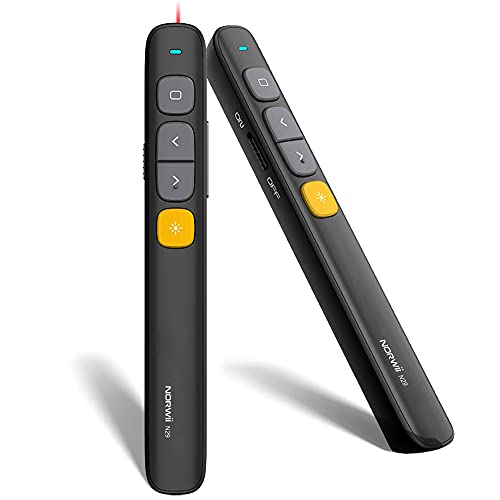 【Neu】 KNORVAY N29 Präsentationsfernbedienung, RF 2,4 GHz Wireless Presenter Powerpoint Clicker Laserpointer mit Hyperlink- und Lautstärkeregler PPT Clicker (Schwarz)