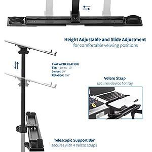VIVO Universal Laptop Treadmill Desk | Adjustable Ergonomic Notebook Mount Stand for Treadmills (Stand-TDML1)