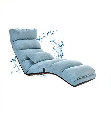 Coussins Se pliants Confortables de Sofa Paresseux Doux de Couleur Pure capitonnés avec la Chaise réglable 205cm de Dossier (Couleur : Bleu, Taille : 205cm)