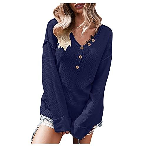Jersey de punto para mujer, monocolor, para invierno, informal, manga larga, suelto, de punto grueso, azul marino, L