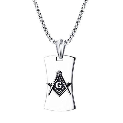 chiwanji Collar Colgante de Placa de Perro de Diseño Masónico de Masonería de Acero Inoxidable Plata