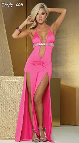 Unterwäsche & Dessous für Damen Erotische Kostüme für Damen Nachtclub sexy XL mit offenem Rücken trägerloses Neckholder Kleid Ausschnitte Träger Hüftrock hoch geschlitztes Kleid-Rose rot_XL