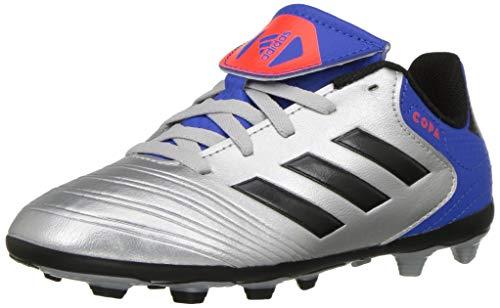 adidas Unisex Copa 18.4 Firm Ground Soccer Shoe, Silver Metallic/Black/Football Blue, 4 M US Big Kid