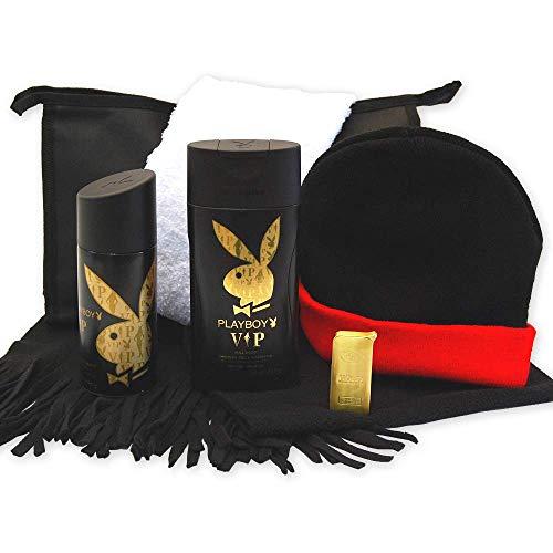 Handverpacktes Geschenk-Set für Männer Dress Man mit Playboy Duschbad sowie Deo plus Feuerzeug und Schal dazu schwarz-rote Wendemütze