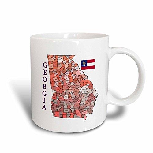 3dRose Bunte Karte & Flagge von Georgien mit Allen countys identified-Two Ton Tasse, Keramik, rot, 10,2x 7,62x 9,52cm