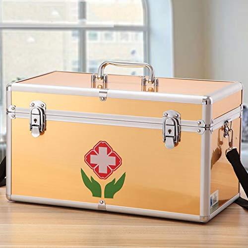 Haushalt Große Kapazität Medizin-Box Multi-Layer-Erste-Hilfe-Box Tragbare Medizin-Box Medizin Aufbewahrungsbox Mit Schultergurt Multi-Color Optional Hyococ ( Color : Gold , Size : 405×220×230mm )