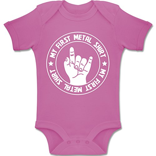 Strampler Motive - My First Metal Shirt - 6-12 Monate - Pink - BZ10 - Baby Body Kurzarm Jungen Mädchen