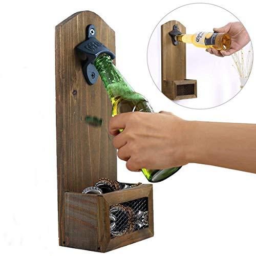 goldmiky Apribottiglie da parete in legno vintage, Apribottiglie a bottone di birra Apertura a bottiglia da birra a barra a parete, Accessorio da bar o casa 12 x 7 x 30cm
