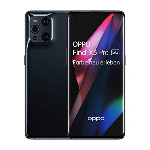 OPPO Find X3 Pro 5G Smartphone, 6,7 Zoll AMOLED Display mit 1 Milliarde Farben, 50MP Duo Hauptkamera, 65W SuperVOOC 2.0, 30W AirVOOC kabellos Schnellladen, inkl. Gutschein[Exklusiv bei Amazon], Black