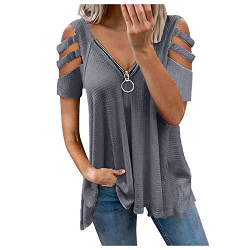 Damen Sommer T Shirt Elegant Vintage Oberteile Kurzarm Kalte Schulter sexy V-Ausschnitt Reißverschluss Bluse Pullover Sweatshirt für Frauen Teenager Mädchen Streetwear Tunika Tops