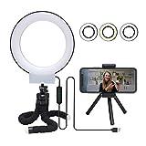APEKX 6 '' Selfie Ring Light con soporte para teléfono celular para transmisiones en vivo / maquillaje / vlog / fotografía, Iluminación LED regulable con trípode, negro