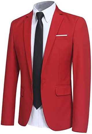 Men Slim Fit One Button Blazer Jacket Casual Party Sport Coat Red XXX Large product image