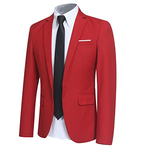 YFFUSHI Men Slim Fit One Button Blazer Jacket Casual/Party Sport Coat,Red,Medium