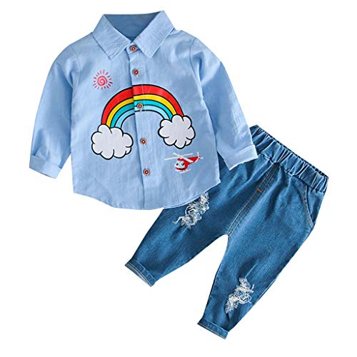 Baby Jongens Meisjes Regenboog T-Shirt + Lichtblauwe Jeans Kleding Set - Peuter Kids Casual Katoen Outfit