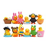 12 pcs Little Yellow Duck Toys Mini Figure Collection Playset, Cupcake Topper, Cake Topper