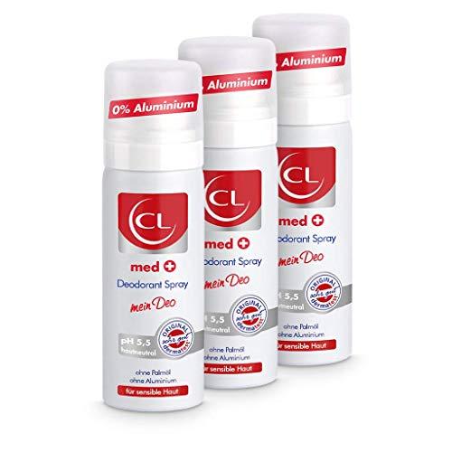 CL med + Deodorant Spray für sensible Haut - 3er Pack 50 ml Deo Spray ph hautneutral ohne Aluminium & Zink bietet aktiven Schutz & sanfte Pflege - Deo Herren & Damen - Deodorant Männer & Frauen