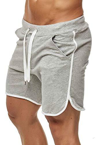 Happy Clothing Kurze Herren Hose Shorts Bermuda Jogginghose Sommer Pants Stoffhose Sweathose, Größe:XL, Farbe:Grau meliert