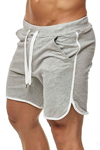 Happy Clothing Kurze Herren Hose Shorts Bermuda Jogginghose Sommer Pants Stoffhose Sweathose, Größe:M, Farbe:Grau meliert