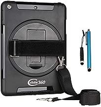 Cellular360 Shockproof Case for iPad 6th Gen, iPad 5th Gen, iPad 9.7 (iPad 6 & iPad 5) with 360 Degree Swivel Kickstand, Handle and Shoulder Strap(Black)