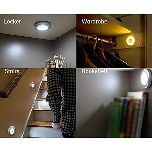 Nachtlicht mit Bewegungsmelder, 6 LED Bewegungsmelder Licht, Auto EIN/AUS Led Beleuchtung Sensor, für Eingang, Flur, Keller, Garage, Badezimmer, Schrank, Warmweiß