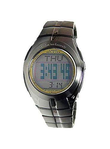 Casio # edb110F-8V Hombre Gunmetal Acero Inoxidable dúplex LCD Hora Mundial e-databank Reloj