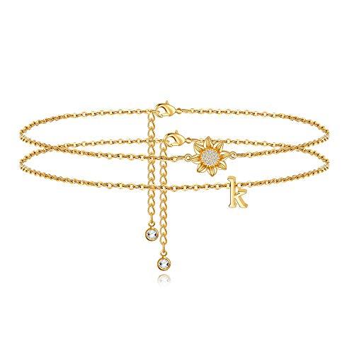 Ankle Bracelets for Women Initial Anklet, 14k Gold Filled...