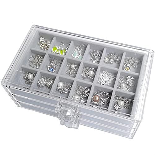 Caja de almacenamiento de joyería de acrílico transparente con anillo de bandeja Pendiente Bandeja Pulsera Collar Colgantes Pendidura Joyería Organizador de cajones ( Color : Jewelry Box and Tray )